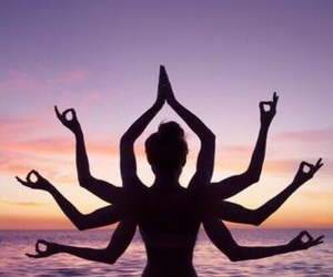 sunset, yoga, and beach image