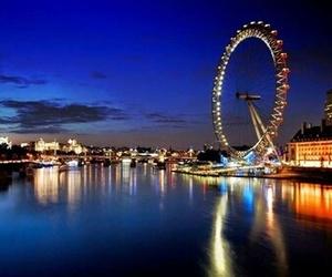 london, london eye, and night image