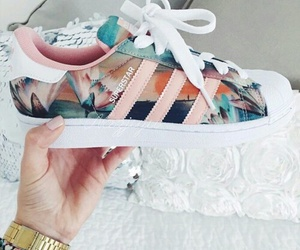 adidas, flowers, and superstar image