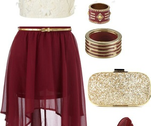 outfit, red, and skirt image