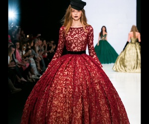 catwalk, haute couture, and red image