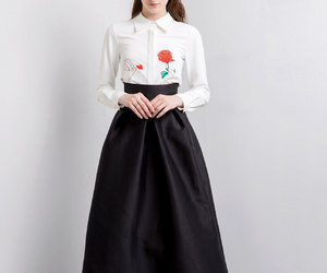flower, long skirt, and shirt image