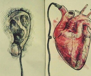 heart, music, and art image