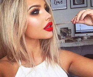 makeup, hair, and lips image