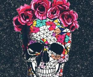 wallpaper, skull, and flowers image