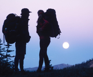 couple, moon, and sunset image