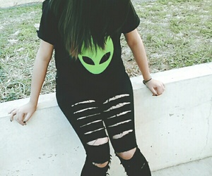 alien, fashion, and green image
