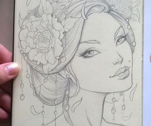 beautiful, girl, and drawing image