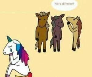 different, sad, and unicorn image