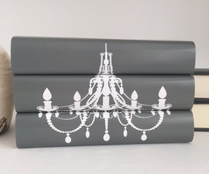 book art, books, and chandelier image
