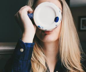 coffee, blue, and girl image
