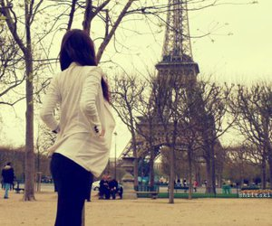 eiffel tower, tree, and girl image