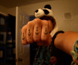 anchor, panda, and tattoo image
