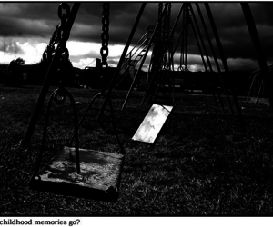 black and white, swing, and photography image