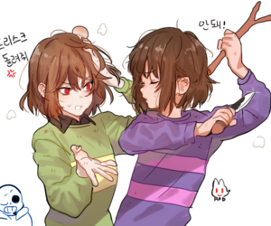 undertale, frisk, and chara image