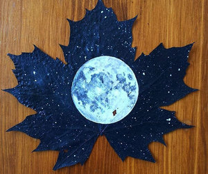 moon, art, and leaves image