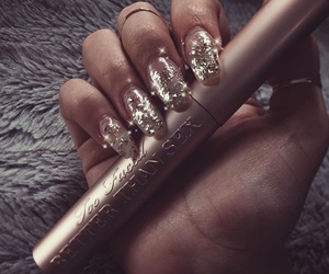 nails, makeup, and gold image