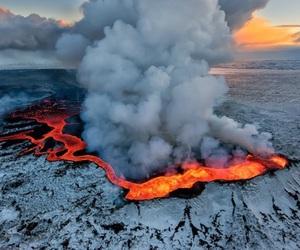 nature, iceland, and eruption image