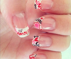 hearts, nail, and valentines day image