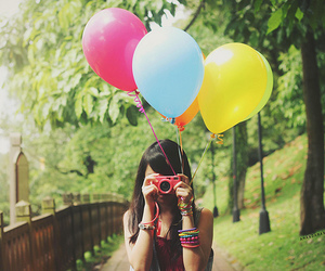 girl, balloons, and camera image