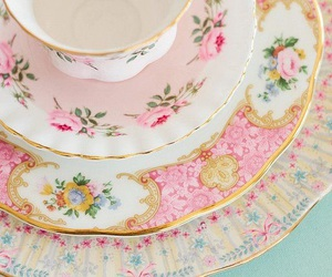 pink, vintage, and tea image