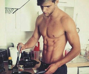 cooking, six-pack, and guy image