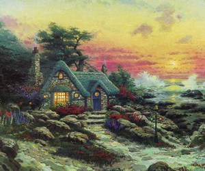 cottage, rocks, and painting image