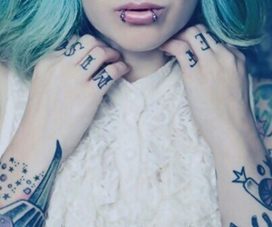 blue, bluehair, and piercing image