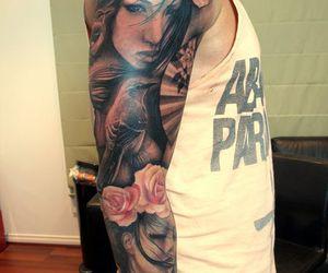 tattoo, art, and rose image