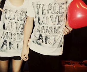 love, peace, and music image