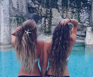 summer, hair, and friends image