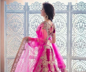 pink, indian, and dress image
