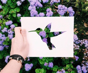 flowers, bird, and art image
