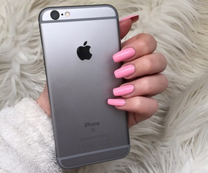 nails, iphone, and girl image