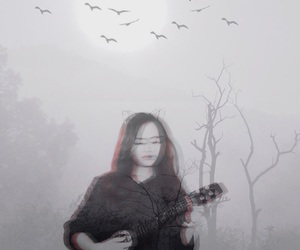 double exposure, music, and nature image