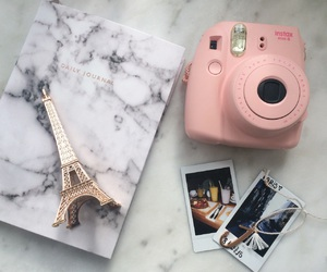 eiffel tower, marble, and pink image
