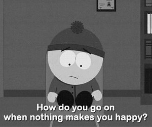 South park, sad, and black and white image