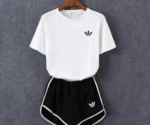adidas, black and white, and short image