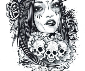 skull, drawing, and black and white image