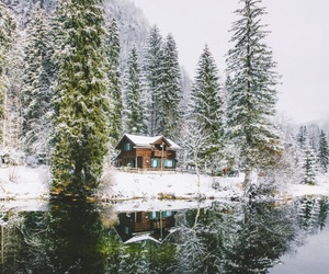 house, snow, and travel image