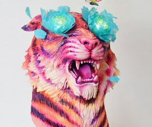 flowers, tiger, and wallpaper image