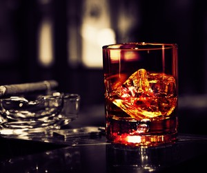 glass, smoking, and whiskey image