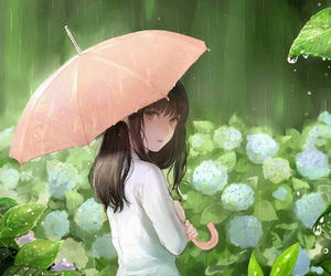 anime girl rain nature image
