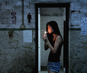 girl, asian, and cigarette image