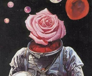 space, rose, and grunge image