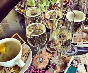 champagne, tea, and journal image