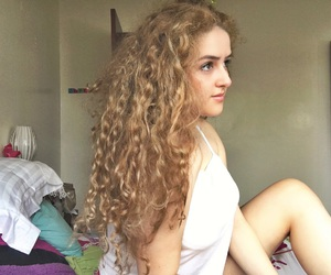 blonde, curly, and luces image