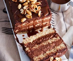 cake, peanut, and caramel image