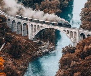 train, travel, and bridge image