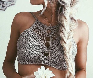 blonde, braid, and lace image